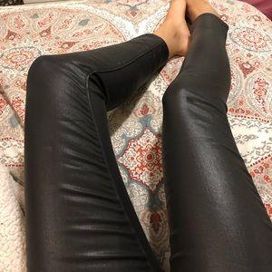 Paige Black Wax Ankle Cut Jeans